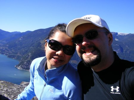 On top of The Stawamus Chief in Squamish, BC