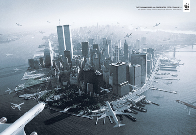 """The Tsunami killed 100 times more people than 9/11. The planet is brutally powerful. Respect it. Preserve it. www.wwf.org"""